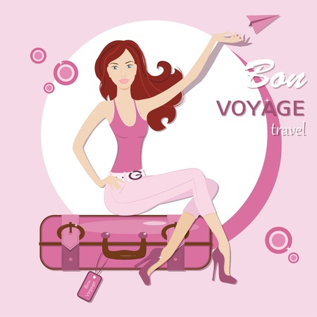 Happy travel  Beautiful young woman sitting on travel bag Stock Vector - 19455945