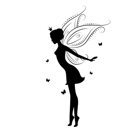 fairy woman: Beautiful fairy silhouette