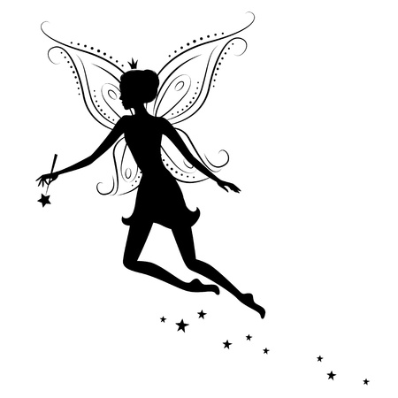 fee zauberstab: Sch�ne Fee Silhouette Illustration