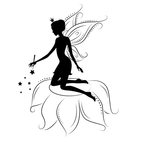 star wand: Beautiful fairy silhouette