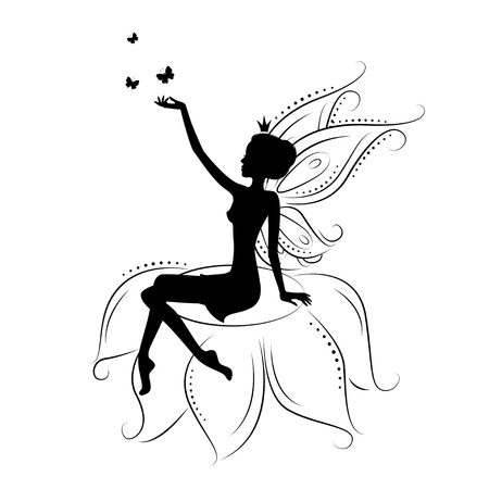 fairy wand: Beautiful fairy silhouette