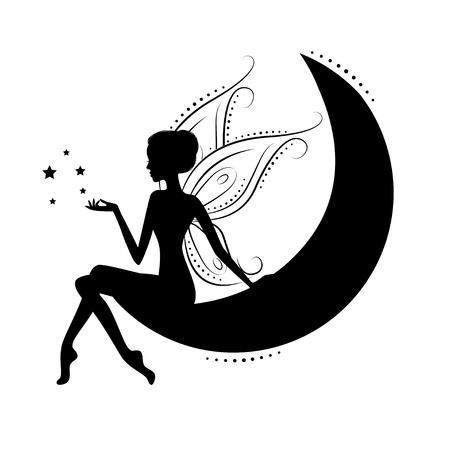 Mooie fee silhouet Vector Illustratie
