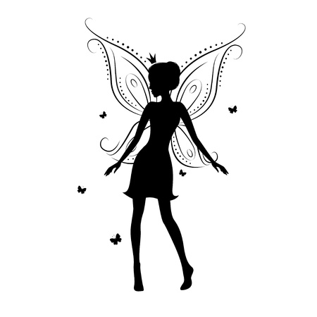 fairy wand: Beautiful fairy silhouette on a white background  Illustration
