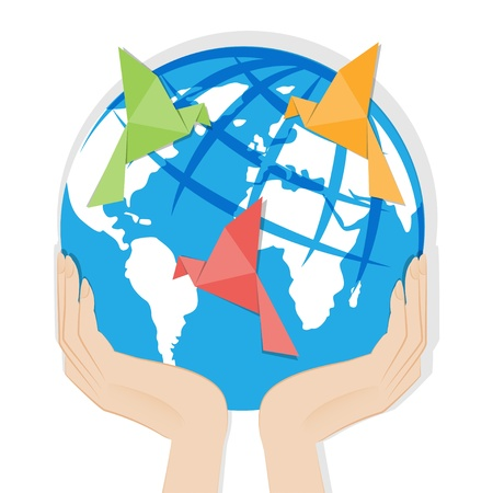 Earth in hands Origami birds made of paper on globe illustration isolated on white background  Vector