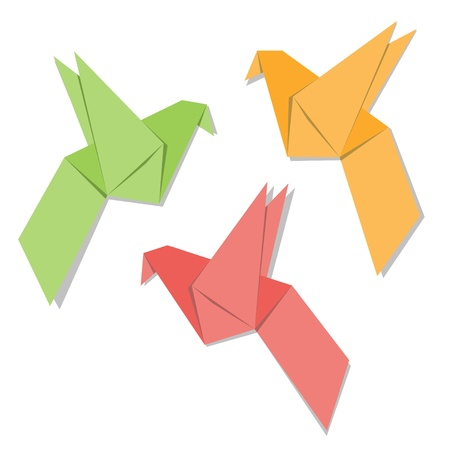 crane origami: Origami paper bird isolated on white background