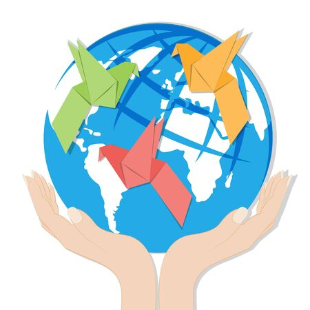 hands holding globe: Earth in hands and Origami paper bird on globe Illustration