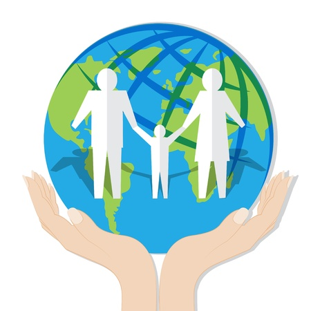 Earth in hands with Happy family together Vector