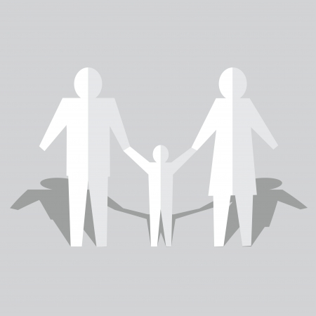 paper cut out: Happy family of people cut out of paper Illustration