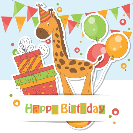 Happy Birthday card   Colorful illustration of cute little giraffe , air balloons, gift and garland of flags  Vector