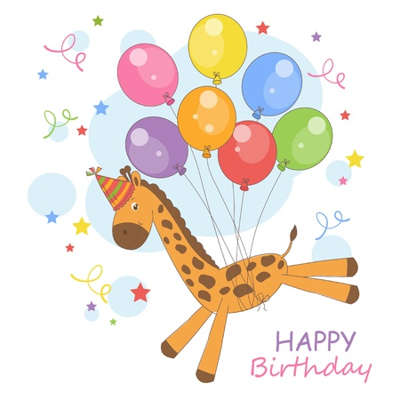 Happy Birthday  Colorful illustration with cute little giraffe flying on a balloons