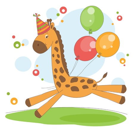 Colorful illustration with cute little giraffe   Vector