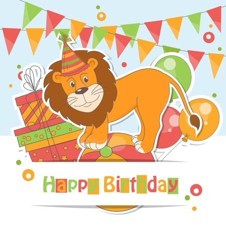 Happy Birthday card   Colorful illustration of cute little lion , air balloons, gift and garland of flags Stock Vector - 20233669