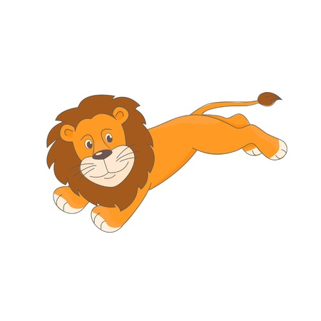 Cute little lion lion jumping  Hand drawn illustration isolated on white background  Vector