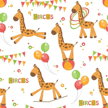 rope walker: Baby seamless pattern of cute little giraffe   Colorful  illustration  Illustration