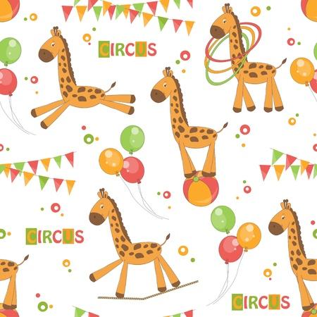 Baby seamless pattern of cute little giraffe   Colorful  illustration  Illustration