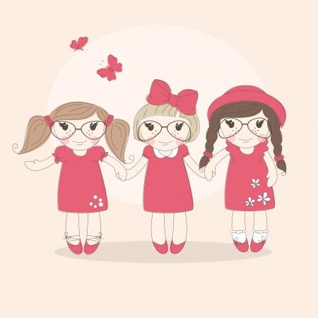 cute little girls: Ni�as lindas Best friends ilustraci�n