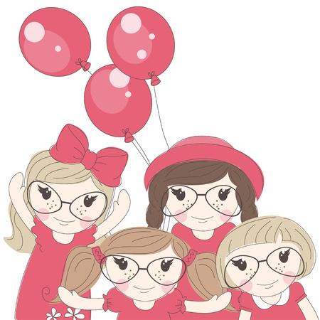 cute little girls: Ni?as lindas Best friends ilustraci?n