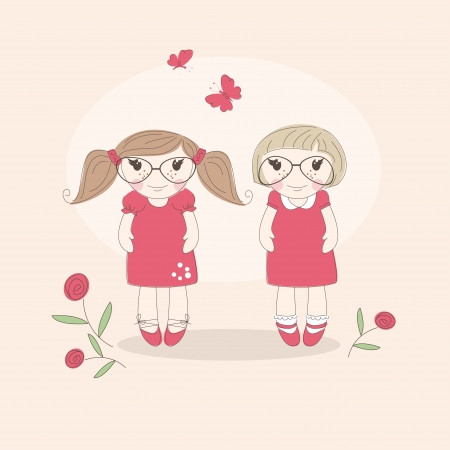 cute little girls: Dos ni�as lindas Best friends ilustraci�n Vectores