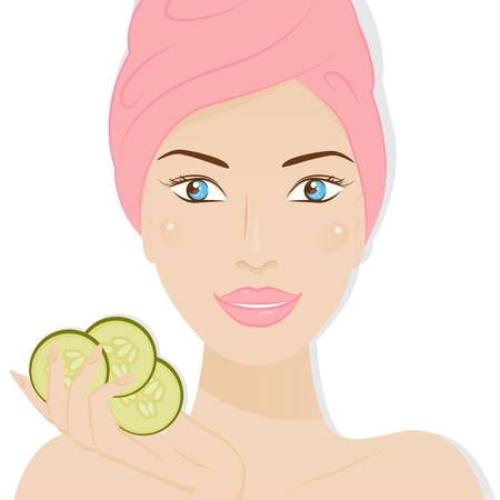 Spa   Care skin of face beautiful woman illustration isolated on white background  Vector