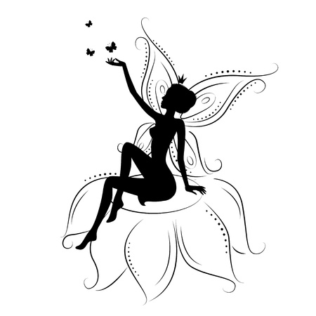 legends folklore: Beautiful fairy. Silhouette of a fairy on flowers with butterfly. Vector illustration isolated on white background. Illustration