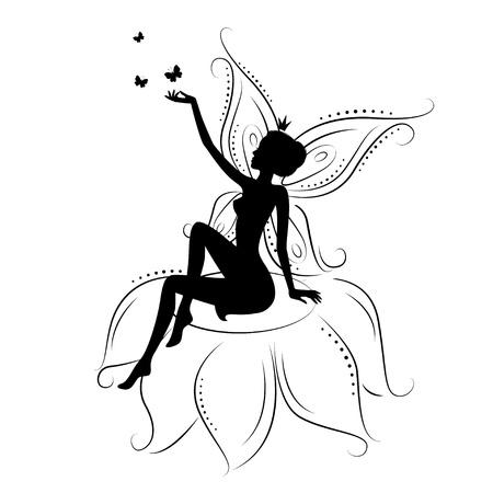 fee zauberstab: Sch�ne Fee. Silhouette von einer Fee auf Blumen mit Schmetterling. Vektor-Illustration auf wei�em Hintergrund. Illustration