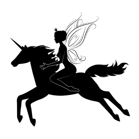 Silhouette of a beautiful fairy riding on magical unicorn.  illustration isolated on white background. Stock Illustratie