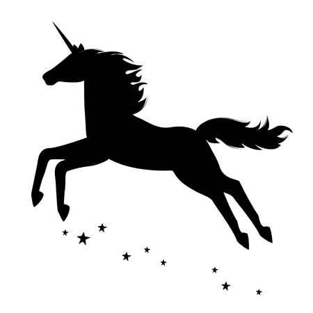 legends folklore: Silhouette of a beautiful  magical unicorn. illustration isolated on white background.