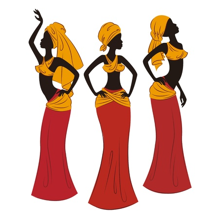 Beautiful ethnic women traditionally dancing illustration isolated on white background  Vector