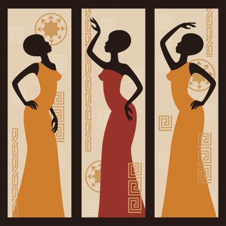 ilustraciones africanas: Las mujeres afroamericanas hermosas Tríptico