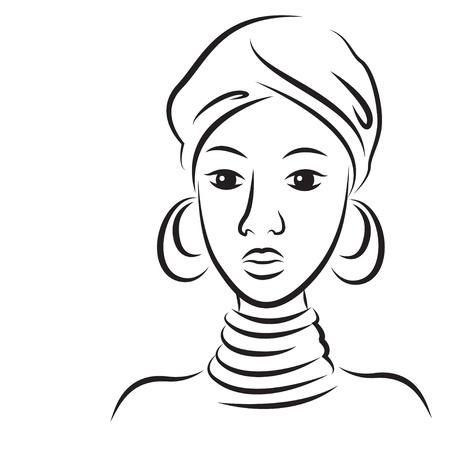 Sketch di giovane bella donna africana illustrazione isolato su sfondo bianco