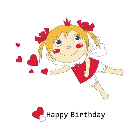 Happy Birthday illustration of cute little fairy  Vector