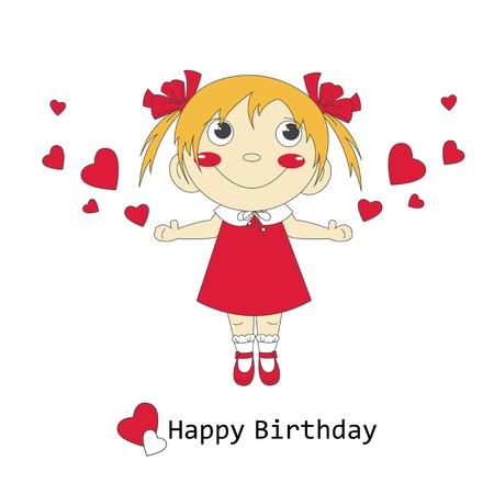 small children: Happy Birthday illustration of cute little girl