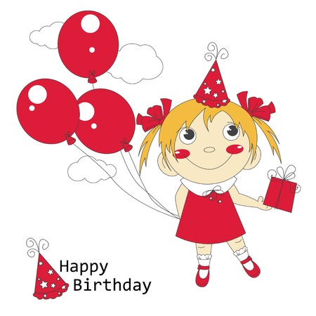 little girl feet: Happy Birthday  illustration of cute little girl with air balloons and gift