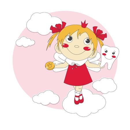 little girl feet:  illustration of cute little tooth fairy