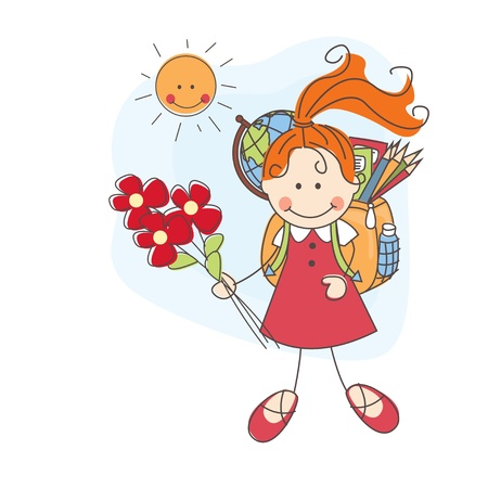 Back to school  Girl with flowers goes to school  Colorful illustration  Vector