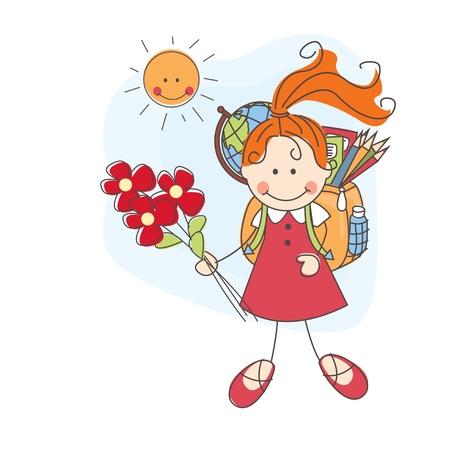 Terug naar school Meisje met bloemen gaat naar school Kleurrijke illustratie