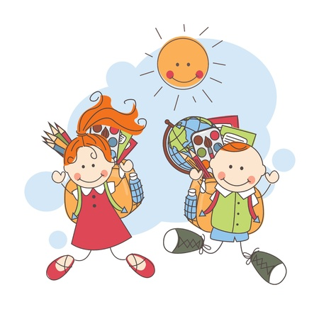 Back to school  Happy children jumping   Colorful vector illustration Vector