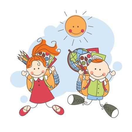 summer school: Back to school  Happy children jumping   Colorful vector illustration