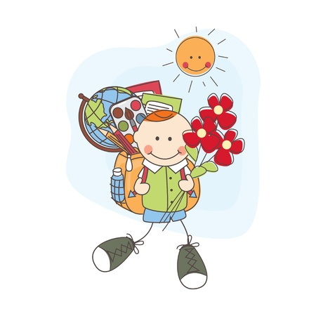 Back to school  Boy with flowers goes to school  Colorful illustration  Stock Vector - 21539394