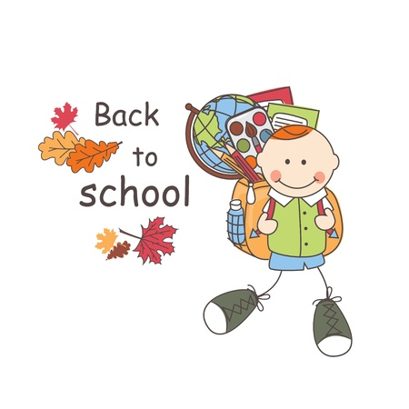Back to school  Boy with school bag goes to school  Colorful illustration and text Stock Vector - 21548743