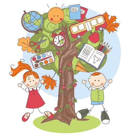 Colorful vector Illustration of a tree with school supplies and playful kids