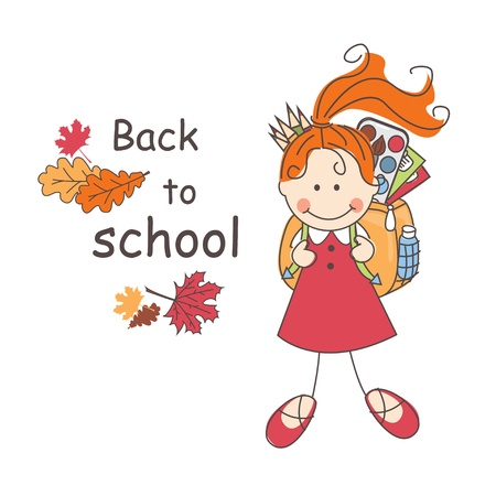 Back to school  Girl with school bag goes to school  Colorful illustration and text Stock Vector - 21539385