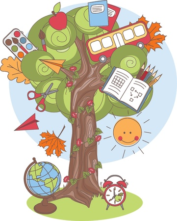 young schoolchild: Colorful vector Illustration of a tree with school supplies