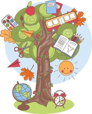 niñez: Colorida ilustración vectorial de un árbol con útiles escolares
