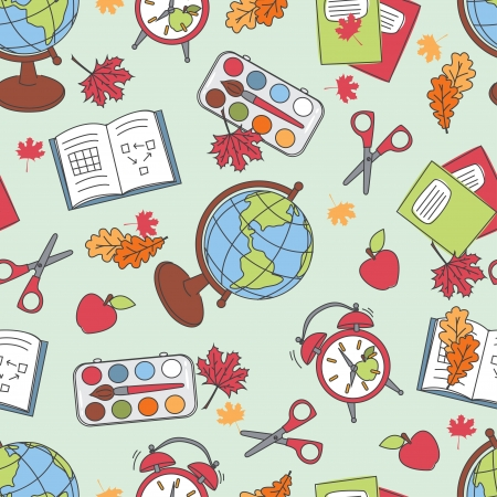 Colorful school  pattern  Seamless pattern with school supplies  Vector