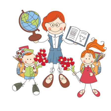 school backpack: Illustration of children and teacher at school on white background