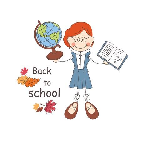 educators: Maestro da la bienvenida de nuevo a la escuela Ilustración vectorial sobre fondo blanco