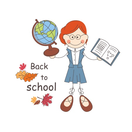 attainments: Teacher welcomes  back to school  Vector illustration on white background