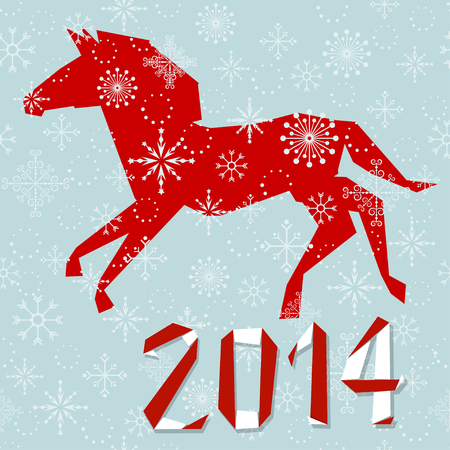 Happy holidays  Christmas background  Horse silhouette and digits 2014 made in origami style  Vector