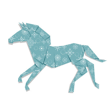 Horse Origami Made Of Paper Isolated On White Background Royalty